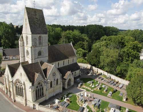 Eglise de Verson vue du ciel