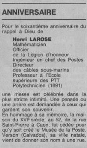 Annonce du soixantième anniversaire du décès de Henri Larose