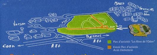 Plan d'accès à la déchetterie intercommunale Rives de l'Odon